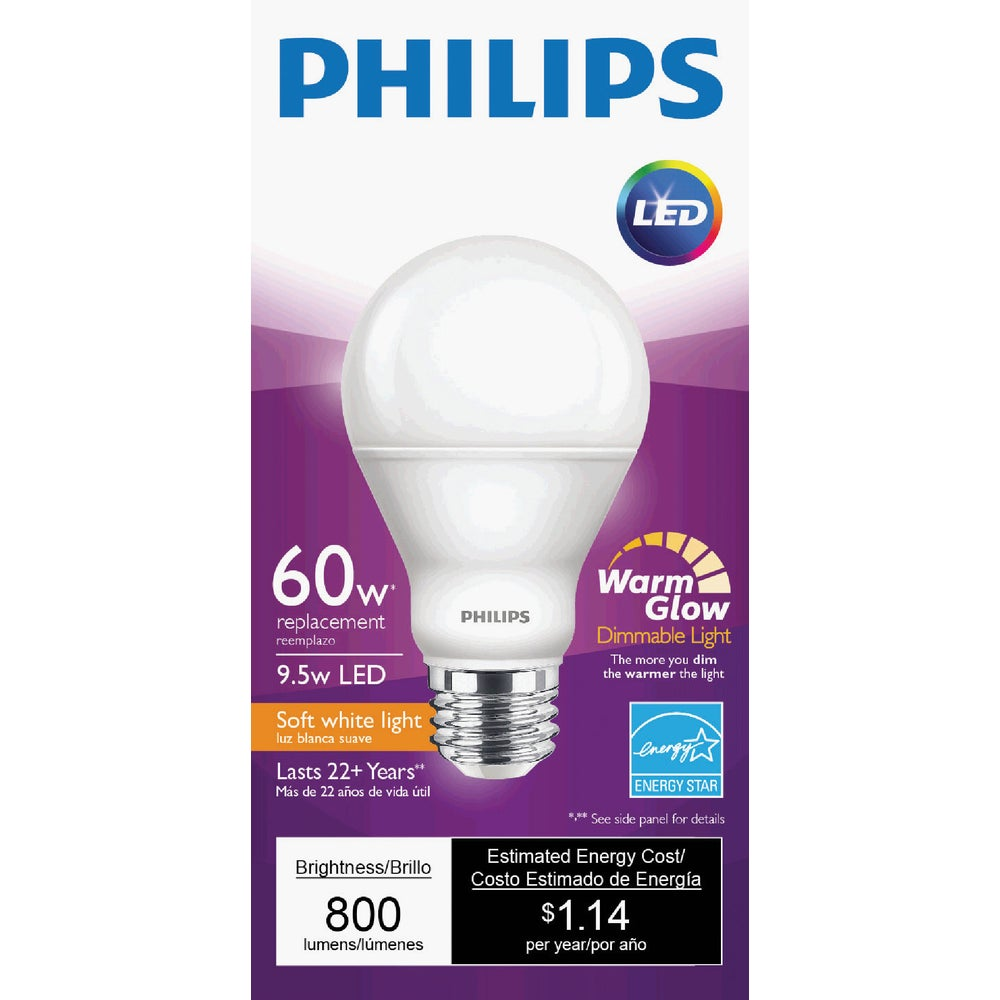 philips lighting co 479444 philips warm glow a19 medium dimmable led light bulb family hardware. Black Bedroom Furniture Sets. Home Design Ideas