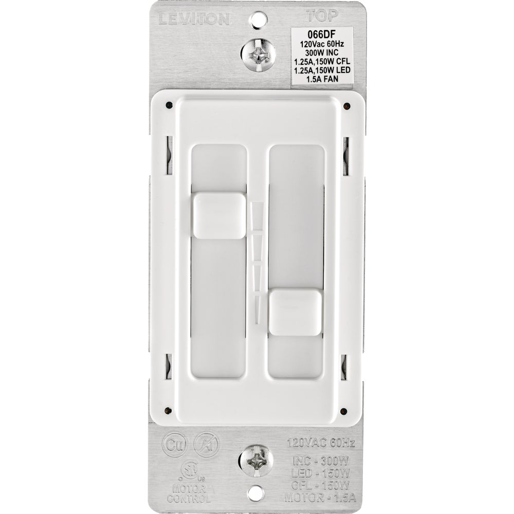 Leviton R02-066df-00w Leviton Decora Sureslide Fan  U0026 Light Dimmer Switch